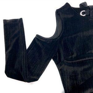 Topshop Cold Shoulder Open Back Velvet Dress